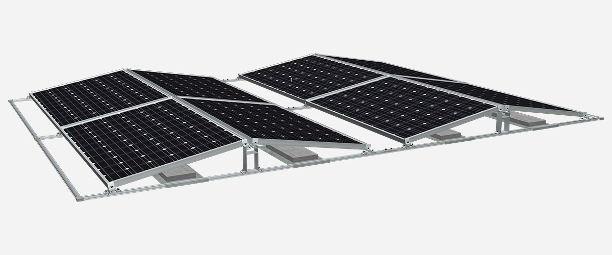 flat roof ballasted solar racking